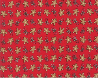 Sugar Plum Christmas Gingerbread Christmas Candy Red Yardage by Bunny Hill Designs for Moda