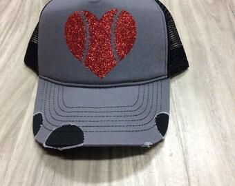 Baseball Heart Glitter Distressed Trucker Hat Customized Personalized Trucker Hat Foam Mesh Women's Hat