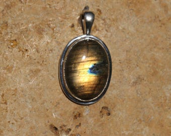 Medium Size Golden Labradorite Pendant Bezel Set In Solid Sterling Silver, Hand Selected Stone, Semi Precious Gemstone Jewelry FOS116