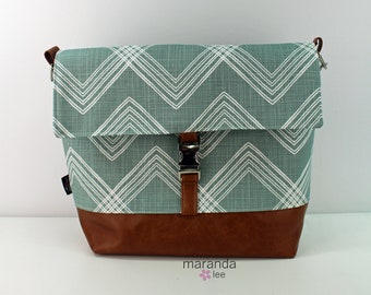 Lulu Large Flap Messenger Satchel  - Colton Ocean and PU Leather READY to SHIP  Travel Business Nappy Bag Stroller Attachment