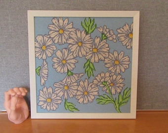 Flower Power Retro Kitschy Sixties Style Needlepoint Colorful Fun Great Craftsmanship Blue White Yellow