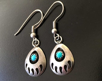 Vintage Silver Bear Claw Shadowbox Earrings | Southwestern Sterling Piereced Dangle Earrings Turquoise | Navajo | Mothers Day Gift Wrapped