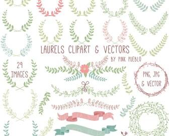 Laurel Clipart Clip Art, Laurel Wreath Leaf Clip Art Clipart Vectors - Commercial and Personal Use