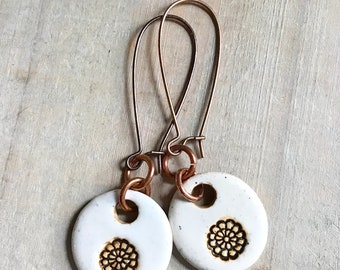 Flower Earrings-Porcelain Jewelry-Kim OHara Designs-Ceramic Jewelry