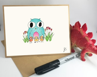 Mother's day card // Owl with 3 babies