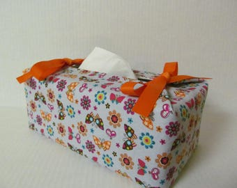 Tissue Box Cover/Butterfly And Flower x Orange Ribbon