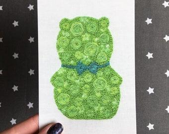 Floral Pop Kuchi Kopi Hand Embroidery 4x6 Print Fan Art