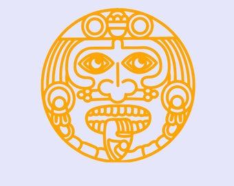 Mayan Aztec Mexican Calender Hispanic Chicano latino Sticker Decals
