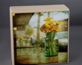 Gold Yellow Blue Floral Photograph on Wood Panel--Sunday Afternoon--4x4 Fine Art