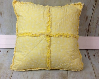 Rag Pillow- Yellow flowers