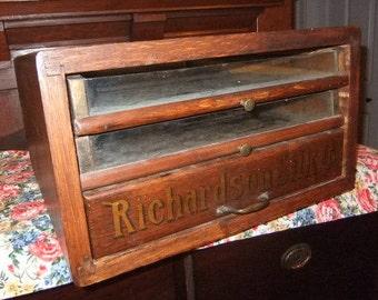 Antique Richardson Silk Company Wooden Three Drawer Spool Cabinet