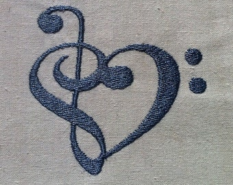 MUSIC LOVE ~ Machine Embroidery Design - Treble Bass Clef Heart - 2 sizes - Instant Download