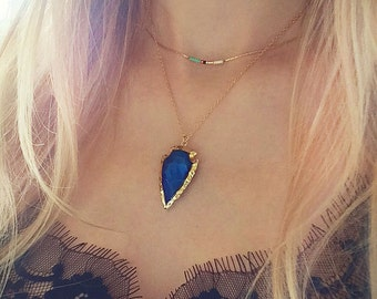 Electric Blue & Gold Arrowhead Necklace // Boho Gemstone Arrow Necklace // Blue Titanium Crystal Necklace