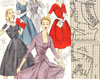 PDFs of vintage 50s pattern drafting system - instant download - Winter 1957