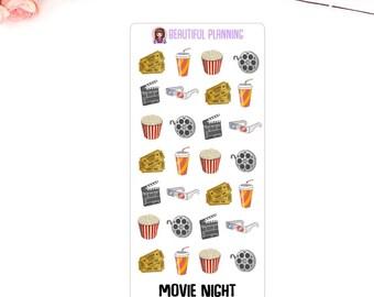 Movie Night / Cinema Planner Stickers. For use in ERIN CONDREN LIFEPLANNER ™, Happy Planner, Filofax, Kikki K, Kate Spade.