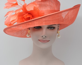 Coral 051 Kentucky Derby Hat, Church Hat, Wedding Hat, Easter Hat, Tea Party Hat Wide Brim Woman's Sinamay Hat