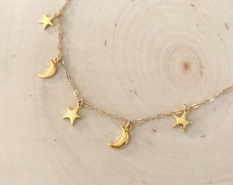 Celestial Moon and Star Gold Charm Choker or Bib Necklace