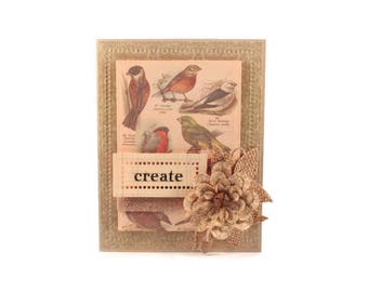 Rustic Any Occasion Card, Birds, Nature, Botanical, Luxury Greeting Card, Handmade Card, Blank Note Card, Blank Greeting Card, Nature, Bird