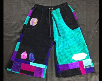 Tie-Dye Patchwork Crystal Shorts, Hippie pants or shorts , Medium trippy shorts, Ice Dyed Patchwork, Psychedelic Artwear, Gemstone Appliques
