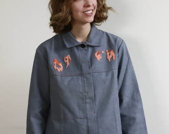 hand embroidered vintage gray workwear jacket