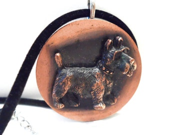 Vintage Copper Scottie Dog Pendant Brooch Necklace Animal Jewelry Vintage Jewelry