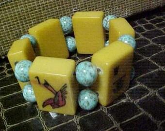 Heavily Carved Bakelite Mah Jong Bracelet Hummel  Beads Jan Carlin Original