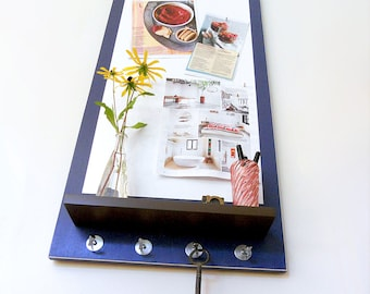 LARGE MESSAGE CENTER: Magnetic White Board with Shelf and Key Hooks. Wall Mount Modern Design Perfect for Home or Office!