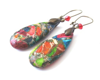 Multicolour Earrings, Teardrop Earrings, Bronze, Red Glass Crystal Detail, Drop Earrings, Stone Earrings