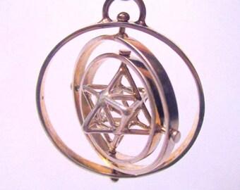 Tantric Star TRIPLE-SPIN: MerKaBa+Octahedron >StarGate Sacred Geometry 3D< Phi Harmony golden ratio spinning Jewelry *Flower of Life Mandala