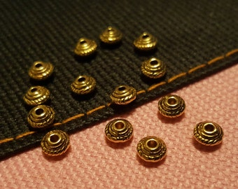 Gold Spacer Beads - 100 pcs. - Bicone Spacer Beads - Tiny Gold Beads - Antiqued Gold Beads - Gold Bead Spacer - Bead Spacers