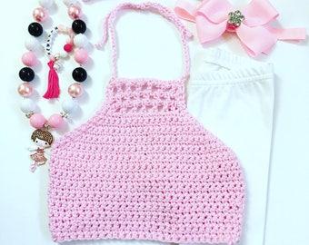 Little Girls Crochet Halter Tops, Girls Crochet Tops, Kids's Pink Crochet Halters, Baby Halter Tops, Crochet Bikini Tops, Beach Wear Tops