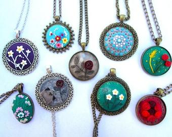 Pendants, necklaces, jewelry, complement, unique pendants, customizable necklaces, flower necklaces, cameo necklaces, Gift