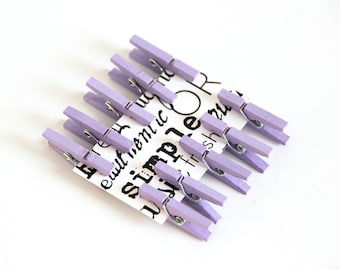 10 pcs Lavender wooden mini clothespins
