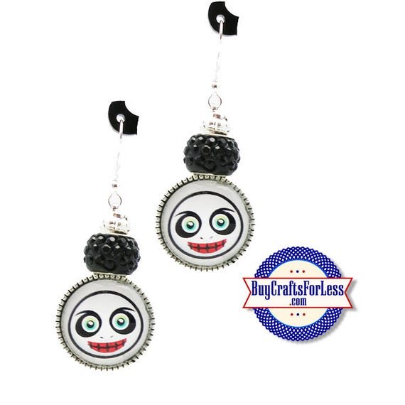 "CLeRANCE ** HALLOWEEN ""SPooK"" EARRiNGS, Glass Cabochon, Sparkle Beads, FREE Gift BoX!!  +FREE SHiPPiNG & Discounts*"