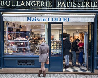 Paris Photography Maison Collet boulangerie patisserie bakery pastery shop young woman looking loningly in window fine art print