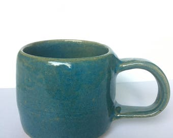 Small Blue Green Ceramic Mug