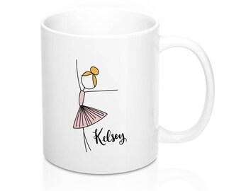 Custom Ballerina Coffee Mug - Customizable Stick Figure Drawing - 11Oz Or 15Oz - Ballet Inspired Coffee Cup - Dance Ballet Teacher Gift