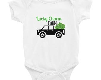 St. Patrick's Day Lucky Charm Farm Infant Bodysuit, Baby St. Patrick's Day, Irish Baby Bodysuit