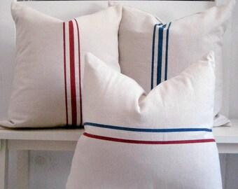 Grain sack pillow / Nautical Pillow  / farmhouse decor / farmhouse Pillow / Black Pillows / Lakehouse decor / Beach Pillow