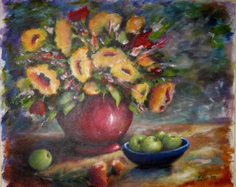 """Original painting  24 x 20  """"Sunflowers In Red Bowl"""""""