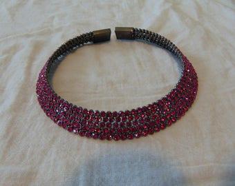 vintage unused fragments mfg. famous designer gunmetal plated magenta pink crystals choker necklace statement bold swarovski