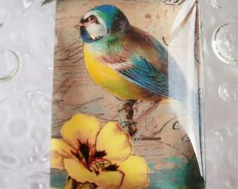 1 glass cabochon size 35 x 25 mm vintage birds theme