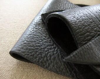 Leather scrap - half pound - True black bull hide