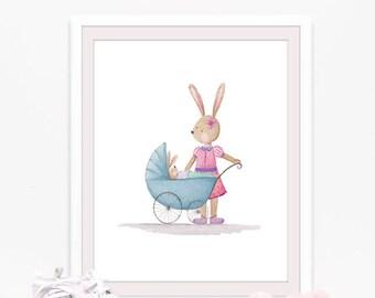 Bunny print, Baby room wall art, nursery prints, Watercolor bunny wall art, Whimsical print nursery art