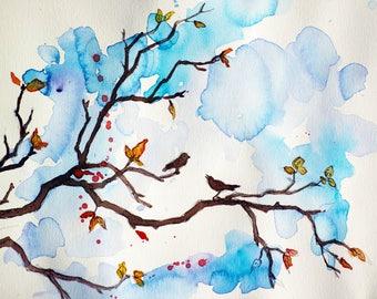 Autumn Serenade/Original Artwork, Watercolor, Modern Art, Wall Decor