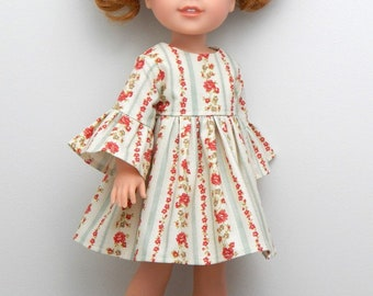 14.5 inch Doll Clothes-Forest Whisper Collection-Soft Green Striped Floral Bell Sleeve Dress