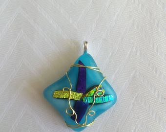 Wire wrapped Blue Glass