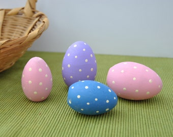 Polka dot Easter eggs, 4 hand painted wood eggs, pink lavender blue with polka dots, 2 large 2 small polka dotted eggs