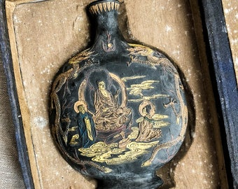 Vintage Buddha Amphora Black Ink Stick Sculpture