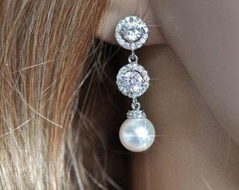 Handmade Cubic Zirconia CZ & Pearl Dangle Bridal Earrings, Bridal, Wedding (Pearl-478)